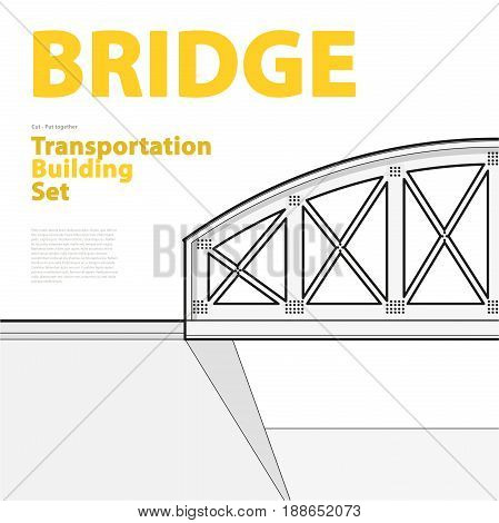 Outline set of vector arched train bridge in isometric perspective. Isolated industrial transportation building. Metallic architecture. Typography layout, railway bridge. Assembled bridge construction
