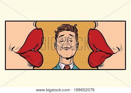 joyful man two women kiss on the cheeks. Cartoon comic illustration pop art retro style vector