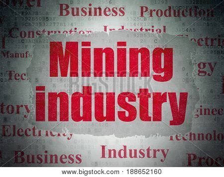 Manufacuring concept: Painted red text Mining Industry on Digital Data Paper background with   Tag Cloud