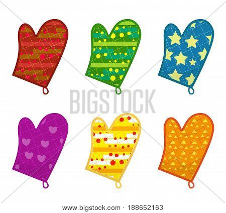 Kitchen potholders, mittens with different patterns. Isolated on white background. Vector illustration, clip-art