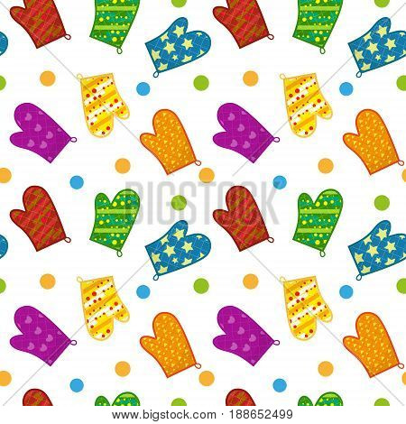 Kitchen potholders seamless pattern. Mittens for cooking endless background, repeating texture. Isolated on white background. Vector illustration