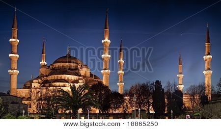 The Blue Mosque at Night in Istanbul Turkey