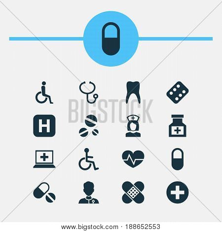 Drug Icons Set. Collection Of Dental, Disabled, Hospital And Other Elements. Also Includes Symbols Such As Pulse, Disabled, Drug.