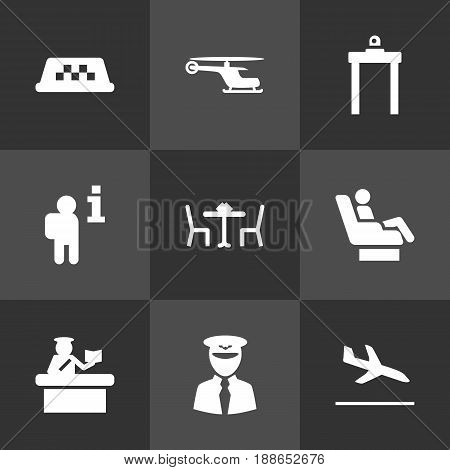 Set Of 9 Airplane Icons Set.Collection Of Security, Aviator, Letdown And Other Elements.