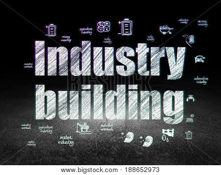 Industry concept: Glowing text Industry Building,  Hand Drawn Industry Icons in grunge dark room with Dirty Floor, black background