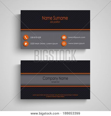 Dark business card with orange elements template vector eps 10