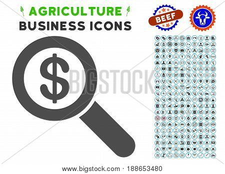 Financial Audit Loupe gray icon with agriculture commercial pictogram kit. Vector illustration style is a flat iconic symbol. Agriculture icons are rounded with blue circles.