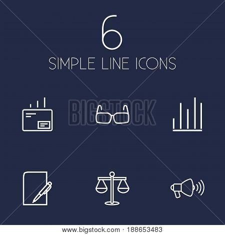 Set Of 6 Trade Outline Icons Set.Collection Of Mail, Glasses, Chart And Other Elements.