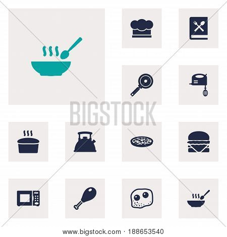 Set Of 12 Culinary Icons Set.Collection Of Cooking Instruction, Blender, Eggs And Other Elements.