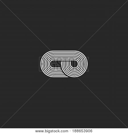 Letters Co Logo Hipster Monogram Parallel Lines Style, Combination C And O Symbols Together Overlapp