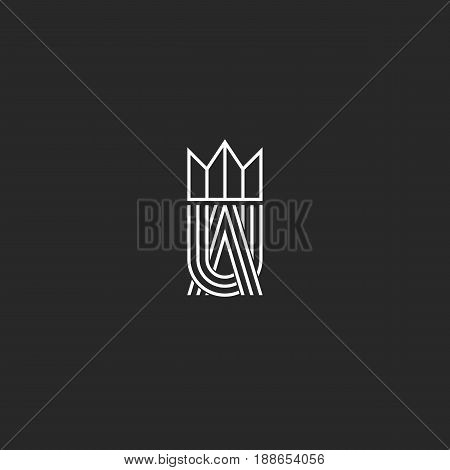 Ua Letters Logo Monogram And Crown Symbol, Overlapping Thin Line Shape, Combination A And U Marks, W