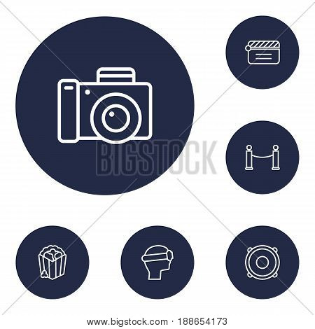 Set Of 6 Entertainment Outline Icons Set.Collection Of Photo Camera, Popcorn, Barrier Rope And Other Elements.