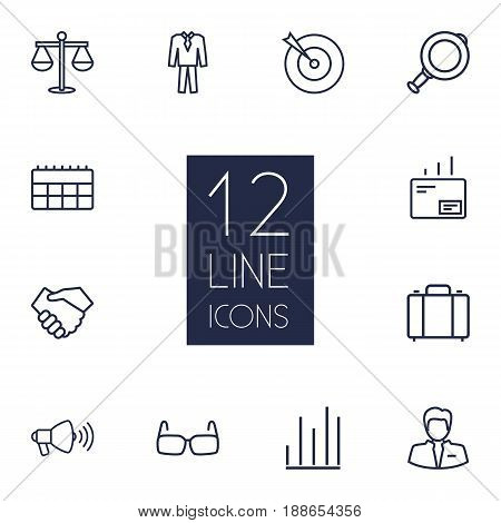 Set Of 12 Business Outline Icons Set.Collection Of Mail, Suit, Portfolio And Other Elements.