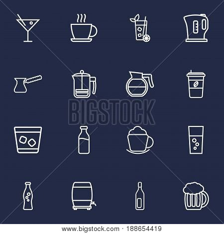 Set Of 16  Outline Icons Set.Collection Of Soda, Cappuccino, Cocktail And Other Elements.
