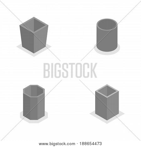 Set of concrete urns for garbage of different shapes isolated on white background. Flat 3d isometric style vector illustration.