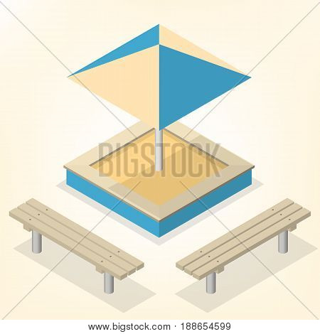 Sandbox with a set of wooden benches and sun protective umbrella isolated on white background. Elements of the design of playgrounds and parks. Flat 3d isometric style vector illustration.