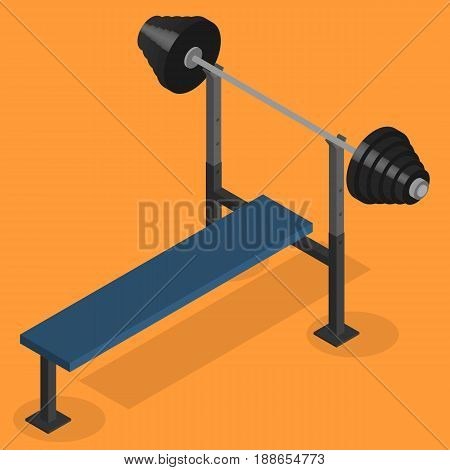 Sports equipment item. Barbell bench press element design for gym. Flat 3D isometric style vector illustration.