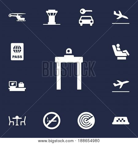 Set Of 13 Airplane Icons Set.Collection Of Radiolocator, Luggage Check, Forbidden And Other Elements.