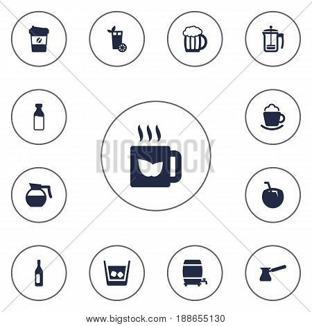 Set Of 13 Beverages Icons Set.Collection Of Bottle, Ice, Cask And Other Elements.