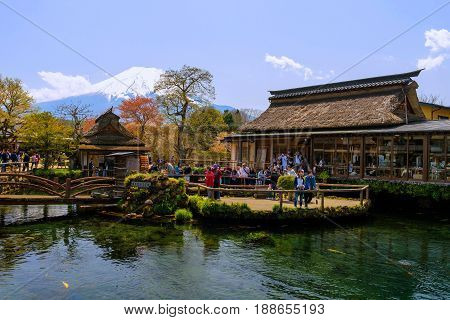 People At Oshino Hakkai With Mt. Fuji