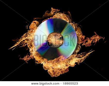 Burning CD ROM on black