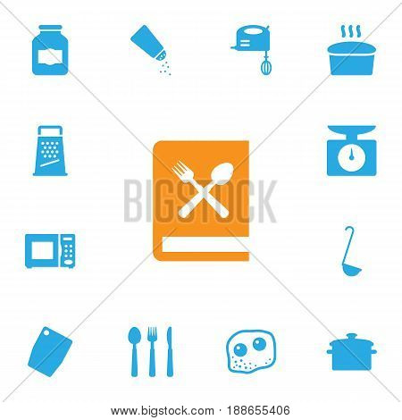 Set Of 13 Kitchen Icons Set.Collection Of Blender, Weighing Machine, Silverware And Other Elements.