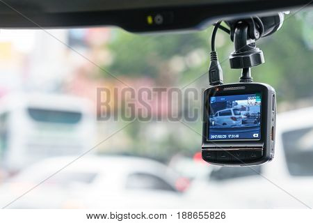 Camera car recorder or driving recorder on windshield