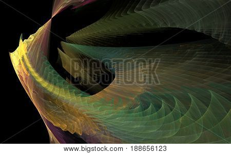 The cosmic waves. Big waves is a dark space. Many color transitions. The transition of the wave from vertical to horizontal. Wavy lines spiral and a circle.