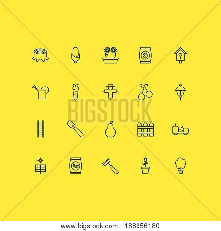 Gardening Icons Set. Collection Of Tree Stub, Agrimotor, Floweret And Other Elements. Also Includes Symbols Such As Ladder, Pitchfork, Can.