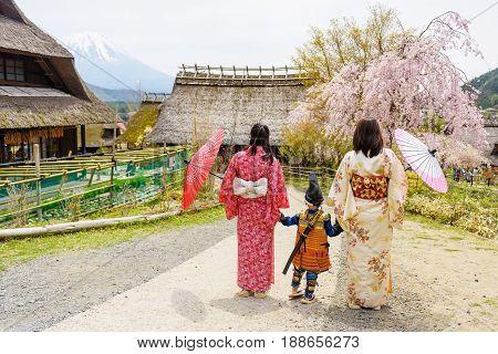 Little Samurai And Two Kimono Female