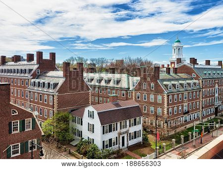 Kennedy Street In Harvard University Area In Cambridge Ma Usa