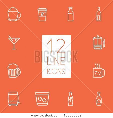 Set Of 12 Drinks Outline Icons Set.Collection Of Champagne, Glass, Bottle And Other Elements.