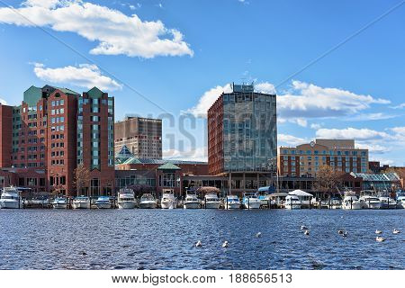 Pier 6 With Sailboats In Charles River Boston Ma