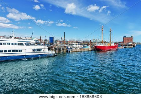 Moored Ships Near Pier At Bay In Boston