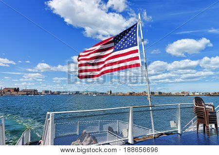 Boston Waterfront And United States National Flag Ma