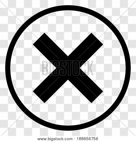X-Cross rounded icon. iconic symbol inside a circle, on transparency grid.  Vector Iconic Design.
