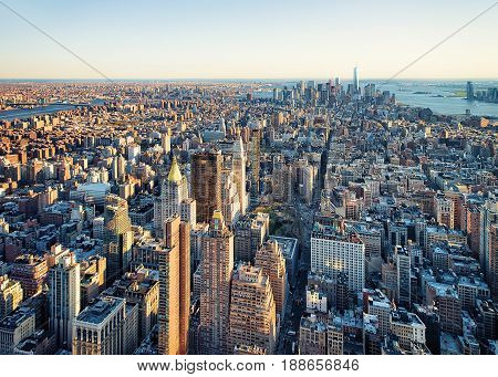 Aerial View To Skyline In Downtown And Lower Manhattan Nyc