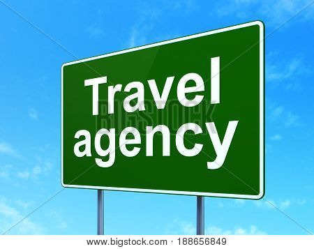 Travel concept: Travel Agency on green road highway sign, clear blue sky background, 3D rendering