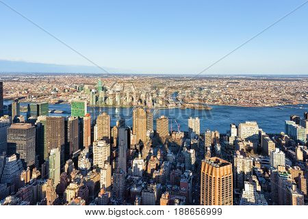 Aerial View On Midtown Manhattan And Long Island City
