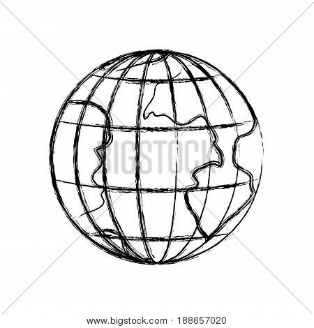 monochrome blurred silhouette of earth globe with meridians and parallels vector illustration