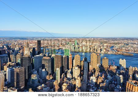 Aerial View Of Midtown Manhattan And Long Island City