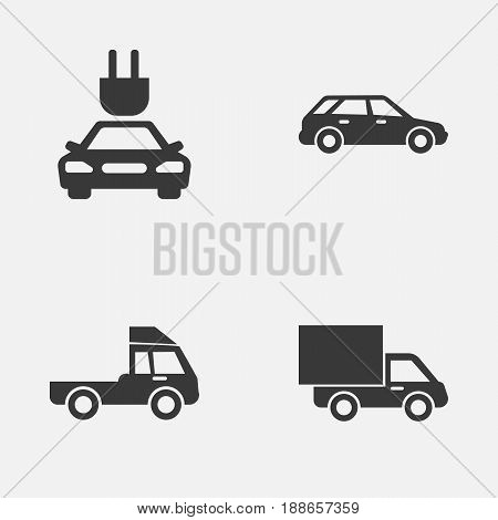 Automobile Icons Set. Collection Of Lorry, Plug, Van And Other Elements. Also Includes Symbols Such As Electric, Plug, Lorry.