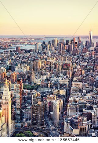 Aerial View Of Downtown And Lower Manhattan Nyc