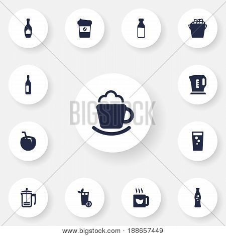 Set Of 13  Icons Set.Collection Of Bottle, Hot, Electric Teapot And Other Elements.
