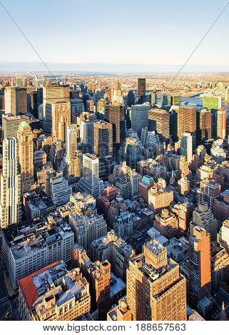 Aerial On Midtown East Nyc