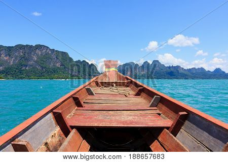 Beautiful view of Cheow Lan Lake from longtail boat