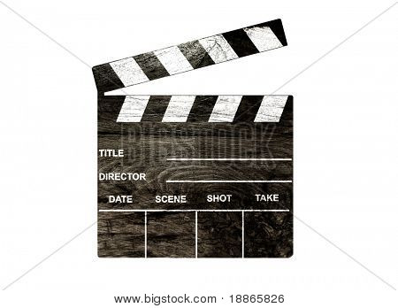 Old clapper board isolated on white