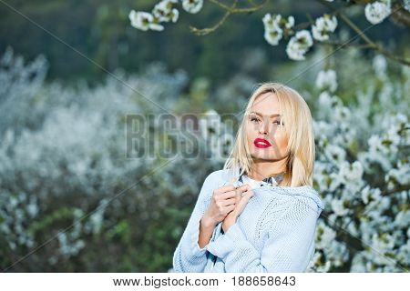 spa and healthy lifestyle beauty and spa spring and summer nature and environment floral design womens or mothers day fashion and makeup blonde woman in flowers
