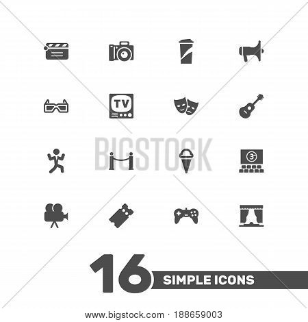 Set Of 16 Entertainment Icons Set.Collection Of Disco, Cinema Fence, Joystick And Other Elements.