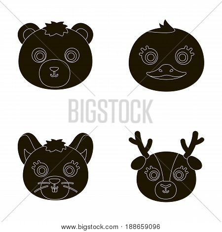 Bear, duck, mouse, deer. Animal's muzzle set collection icons in black style vector symbol stock illustration .